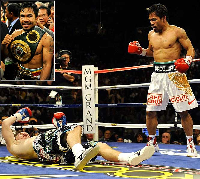 """The best pound-for-pound boxer was able to put an """"undisputed"""" in front of his lofty moniker by knocking out Ricky Hatton cold in the second round of their megafight. If Floyd Mayweather Jr., who is coming out of retirement to fight Juan Manuel Marquez in July, can step in the ring with Pacquiao, that just might be boxing's biggest fight in more than a decade."""