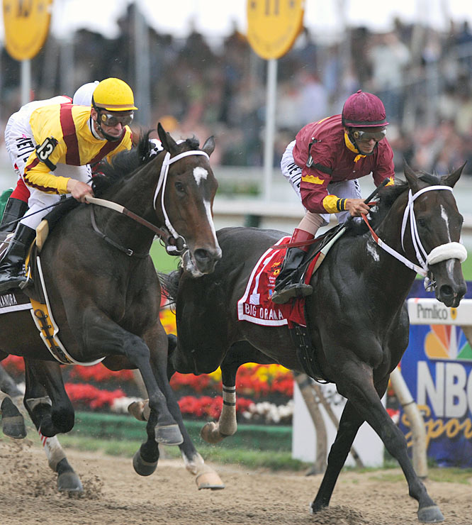Rachel Alexandra (left) and Big Drama set a blistering pace in the first quarter-mile. Big Drama would eventually take 5th place in the Preakness.