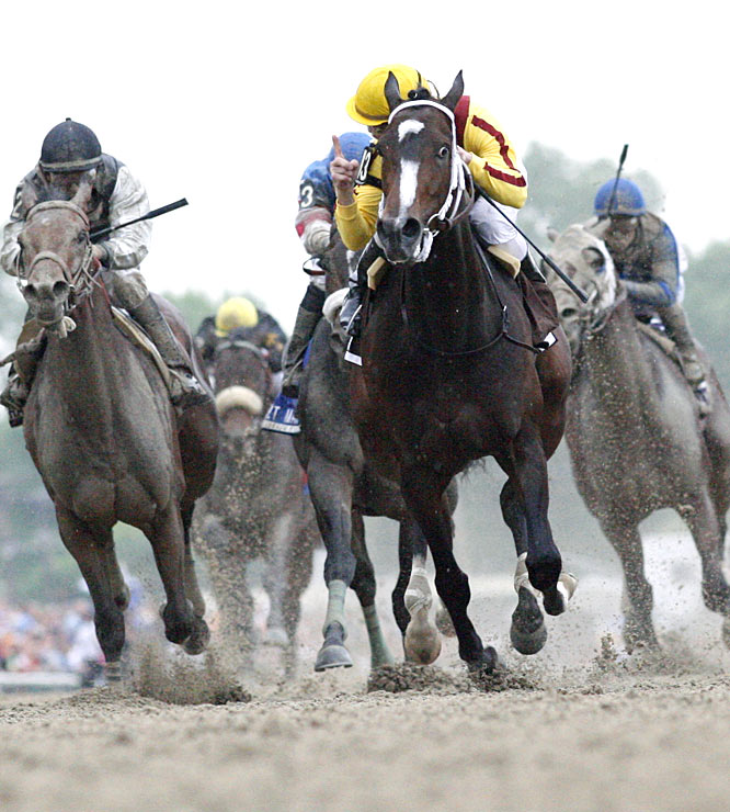 The horses enjoyed a slightly drier day for the Preakness than the rain-addled Kentucky Derby on May 1, although they were covered in dirt by race's end.