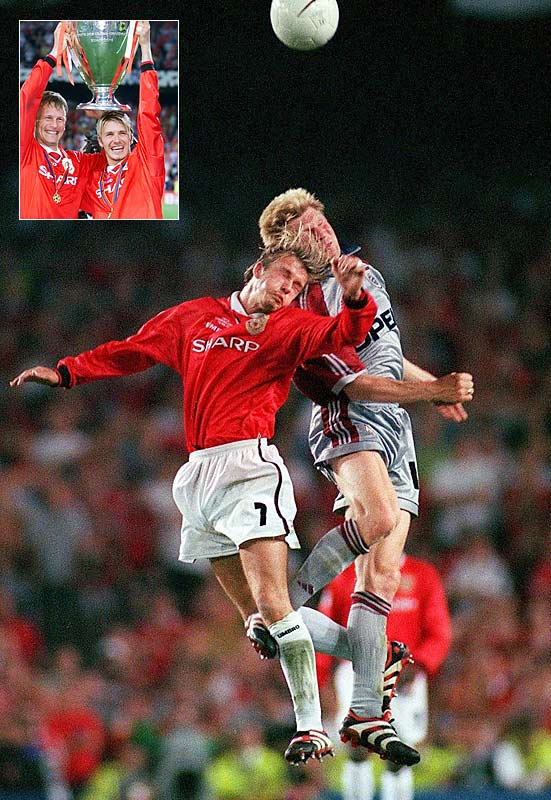 One of the most devastating reversals in Champions League history came at Barcelona's Camp Nou, when Bayern Munich brought a 1-0 advantage into stoppage time. With celebrations already underway in the stands and in Germany, Teddy Sheringham fired home a dramatic equalizer. With thousands of Munich fans setting down for 30 minutes of extra time, United's Ole Gunnar Solskjaer doubled their dread with a 93rd-minute winner off Sheringham's header from a David Beckham cross to clinch an unprecedented treble for United.