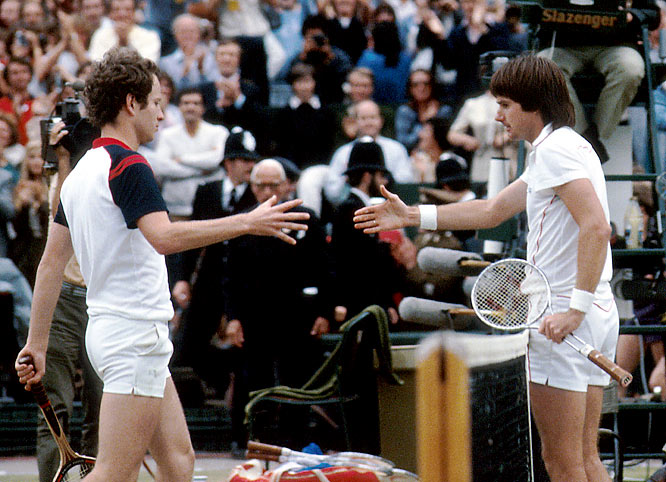 The two ''Bad Boys of Tennis'' first met at the Grand Prix Masters '79, when Connors sat atop the tennis world and McEnroe, a fiery young phenom from New York, was quickly climbing the ranks. Before the match, Connors said that McEnroe would be ''good practice'' for him. McEnroe won the match, however, and afterward Connors referred to his future rival as ''that f***face McEnroe.'' The two would clash verbally as they battled for superiority throughout the early '80's, but McEnroe eventually came out on top, posting a 20-13 record in head-to-head matches.
