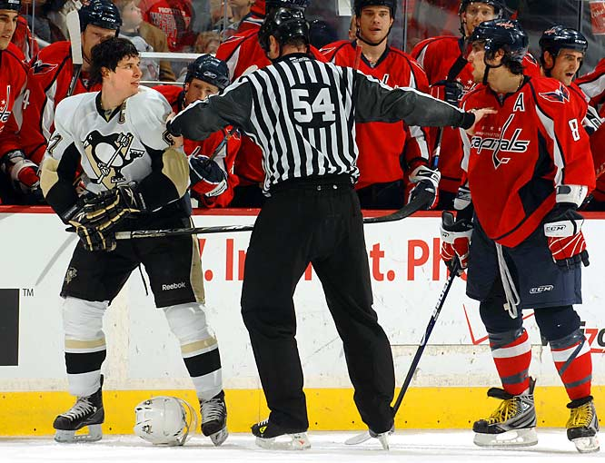 The NHL's two most-recent MVPs have been rivals for four years, not just on the ice, but in the media too. With fans increasingly engaged in the rivalry, the players make no attempt to hide their mutual dislike.  Crosby has bristled at Ovechkin's goal celebrations: ''Some people like it, some people don't. Personally, I don't like it.'' Meanwhile, when asked to assess Crosby's style of play, Ovechkin said: ''He is a good player, but he talks too much.'' With pushing, shoving, and a ''bye-bye'' wave from Ovechkin, the rivalry won't cool off any time soon.