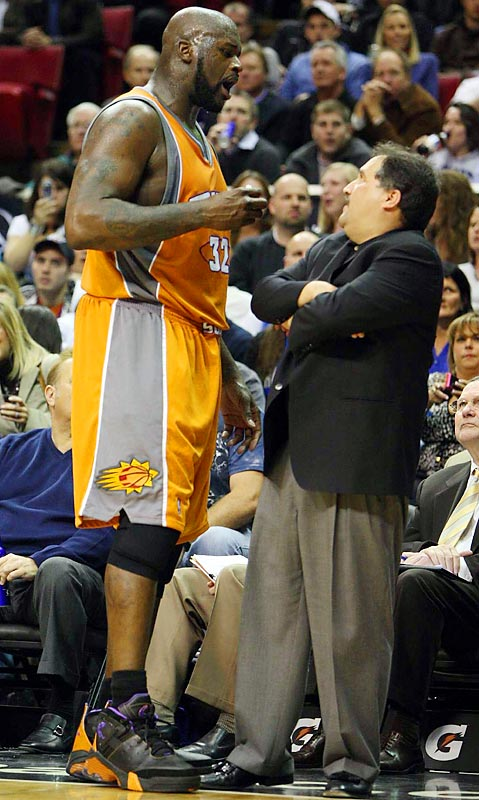 "The bad blood between Shaq and Stan Van Gundy started when both were with Miami in 2005, when Shaq criticized Van Gundy's coaching decisions following Miami's loss to the Pistons in Game 7 of the Eastern Conference Finals. The rift widened this year when Van Gundy criticized Shaq for ""flopping"" against Dwight Howard in a March game between the Suns and Magic. Shaq fired back, calling Van Gundy a ""frontrunner,"" a ""master of panic,"" and a ""nobody."" Apparently unaffected, Van Gundy responded: ""If you're going to dish it out, you've got to be able to take it. And I can take it."""