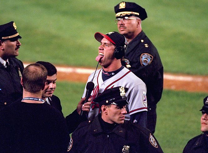 "After taunting Mets fans during the '99 NLCS, John Rocker added words to his gestures in SI, likening a trip to Shea to: ""riding through Beirut next to some kid with purple hair, next to some queer with AIDS, right next to some dude who just got out of jail for the fourth time, right next to some 20-year-old mom with four kids."" Rocker's return to New York was marked with 700 police officers, a protective cover over the Braves' bullpen and a limit on beer sales."