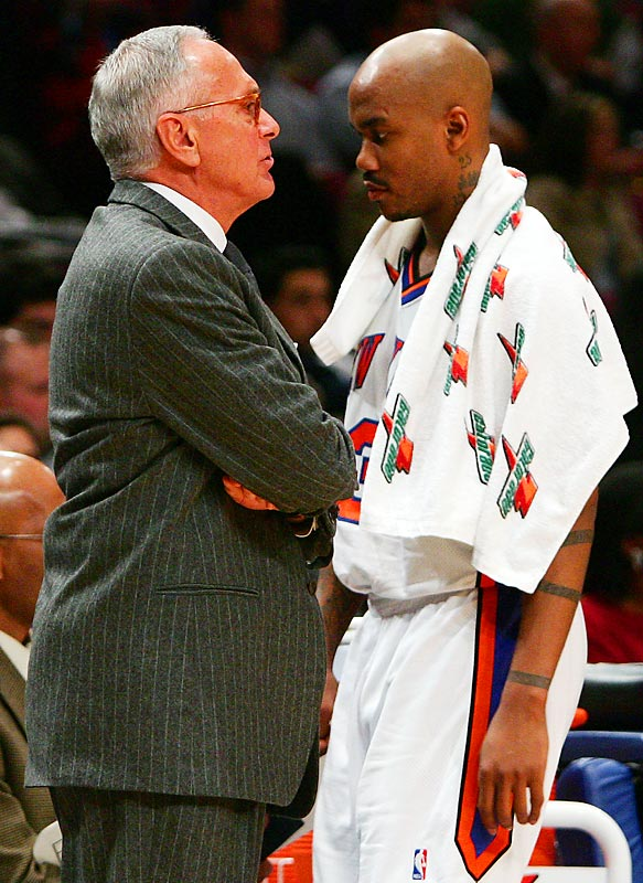 The 2005-06 season was one of constant bickering and endless finger-pointing for Stephon Marbury, Larry Brown and the disastrous New York Knicks. Marbury claimed Brown didn't give the Knicks enough freedom on offense, and Brown said Marbury -- the team's star player -- didn't take responsibility for the team's losing record. The tumultuous relationship worsened throughout the year,and eventually resulted in a divorce. Brown was fired at the end of the season -- his only one with the Knicks.