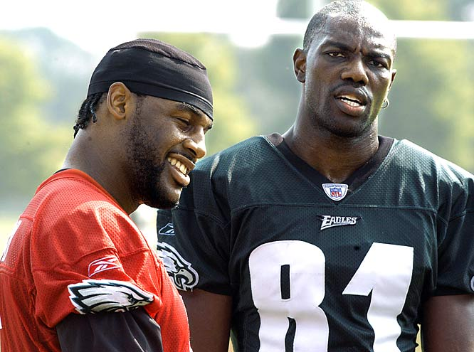 "T.O. has apparently never heard the saying ""don't bite the hand that feeds you,"" because after McNabb campaigned for the Eagles to sign Owens in 2004, connected with him for over 1,200 yards and 12 TDs, and took him to the first Super Bowl appearance of his career, the controversial receiver criticized McNabb's performance in the championship game. Owens also complained frequently about not getting the ball enough, and even said that the Eagles would be better off with Brett Favre. McNabb took offense to the final comment, calling it ""black on black crime."" The two were caught arguing on the sidelines several times before Owens' comments earned him a one-way ticket out of Philadelphia."