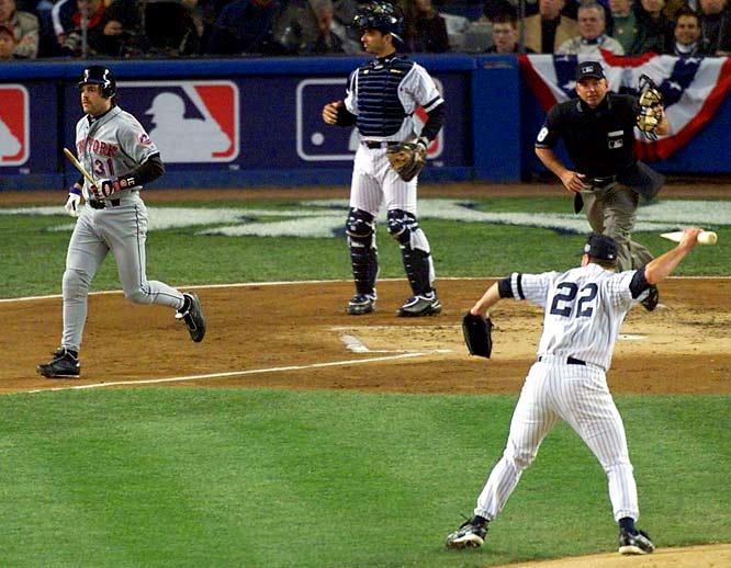 Always a fiery competitor, Roger Clemens met his match in Mike Piazza. In an interleague game on July 8, 2000, Clemens beaned Piazza in the head with a fastball, resulting in a mild concussion that kept the catcher out of the ensuing All-Star Game. Piazza, who had gone deep off the Rocket in three straight games, said Clemens threw at him intentionally. The pair next met later that year in Game 2 of the World Series, and the feud boiled over -- in bizarre fashion. In the first inning Piazza hit a broken-bat-foul. The splintered barrel bounced toward Clemens, who scooped it up and threw it in Piazza's direction as he headed to first base. The two walked toward each other, and both benches emptied. Clemens later said he was tossing the bat to the ball boys near the on-deck circle. The Yankees went on to win Game 2 and the Series.