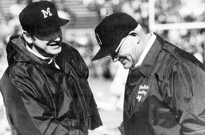 "These two titans actually liked one another -- Schembechler played for Hayes at Miami of Ohio -- but the Michigan-Ohio State rivalry made them rivals. Hayes, who called Michigan ""that school up north"" went 4-5-1 against his former pupil in what is now known as ""The 10-Year War."" The rivalry only deepened the respect the coaches had for one another. ""If Bo is not a winner, I never saw one and I should know,"" Hayes told Ohio State student paper The Lantern in 1986. ""He beat me the last three games we played. We've fought and quarreled for years but we're great friends."""