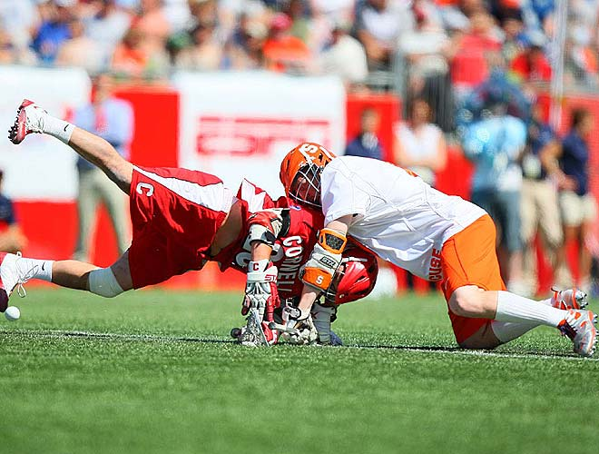 Cornell won the faceoff to take the first possession in overtime but saw its luck end with a save by John Galloway in the Syracuse goal.