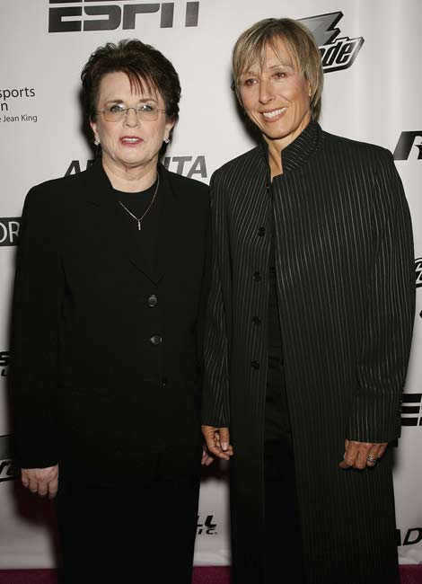 Billie Jean King (pictured here with Martina Navratilova) admits to a lesbian affair with Marilyn Barnett, making King the first prominent professional female athlete to come out as gay.