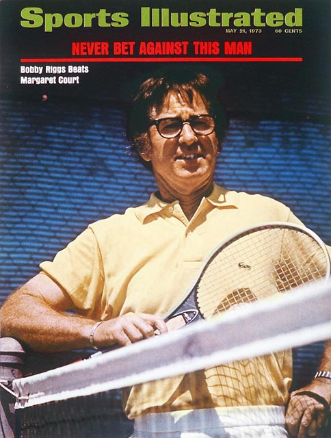 Bobby Riggs defeats Margaret Smith Court in an exhibition match on Mother's Day in California.