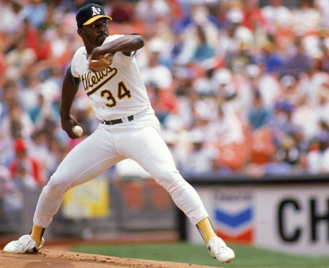 In Oakland's 39th game of the season, pitcher Dave Stewart sets a record with his 12th balk of the year. He'd finish the season with 16.