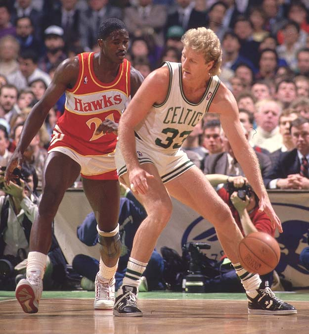 Dominique Wilkins and Larry Bird exchange baskets in the fourth quarter of Game 7 of the 1988 Eastern Conference Semifinals until Boston escaped with a 118-116 victory. Wilkins finished with 47 points and Bird had 34 -- with 20 of his points tallied in the fourth quarter.