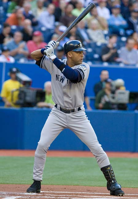 Derek Jeter becomes the eighth player in Yankee history to collect 2,000 career hits The 31-year old shortstop joins Yogi Berra, Lou Gehrig, Joe DiMaggio, Mickey Mantle, Don Mattingly, Babe Ruth, and Bernie Williams in reaching the milestone.