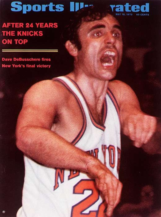The New York Knicks, with Dave DeBusschere forced to play center against Wilt Chamberlain after a leg injury sidelined Willis Reed, defeat Los Angeles, 107-100, in Game 5 of the NBA Finals. The Knicks ultimately captured their first NBA title with a Game 7 victory.