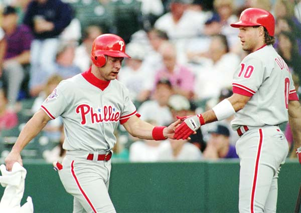 On the way home from teammate John Kruk's bachelor party, Lenny Dykstra (left) slams his sports car into two trees. The accident gives the Phillies OF three broken ribs, a fractured collarbone and a broken bone beneath his right eye. Darren Daulton, who was also in the car, suffers a scratched left cornea and a fractured left eye socket.