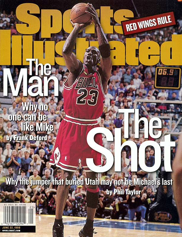 This cover shows the final shot Michael Jordan took as a member of the Bulls, a jumper from the top of the key that buried the Jazz and gave the Bulls another title. Jordan has appeared on the cover 49 times, more than any other athlete (Muhammad Ali is second with 38).