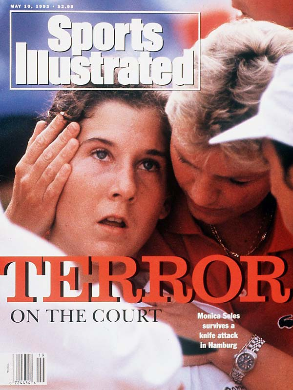 """Terror"" struck the tennis court on April 30, 1993, when the world's No. 1 ranked women's tennis player, Monica Seles, was stabbed in the back by a deranged fan during a quarterfinal match in Hamburg.  The fan was allegedly obsessed with seeing Steffi Graf regain the No. 1 ranking, so he rushed onto the court with a 10-inch boning knife to attack the 19-year old Seles. Seles recovered physically just a few weeks later, but was so damaged psychologically that she didn't return to competitive tennis for over two years."