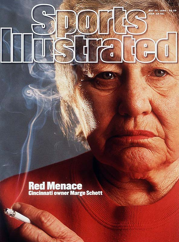 "The first woman to buy a Major League Baseball team, Marge Schott was a lightning rod as the owner of the Reds. Notorious for racial and ethnic slurs, Schott was fined and disciplined numerous times for her behavior. Just before appearing on this '96 cover of SI, Schott went too far one last time, saying Hitler ""was good in the beginning, but went too far"". In response, Major League Baseball banned her from day-to-day operation of the Reds."