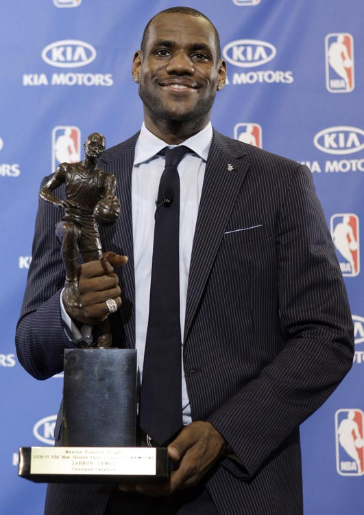 His first MVP award was a milestone in an already illustrious career for LeBron. The then Cavs' superstar garnered his first trophy as he led his team in all five major categories (points, rebounds, assists, steals and blocks), becoming only the fourth player in NBA history to accomplish the feat. The following season, James became only the 10th player in league history to win the award in consecutive years.