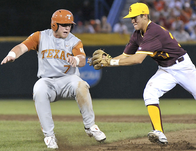 Preston Clark (7) and top-seeded Texas rallied from a six-run deficit to beat Arizona State and move within a win of the championship round.