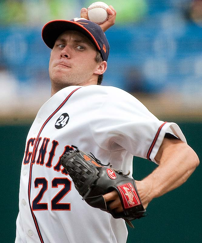 Virginia starting pitcher Robert Morey winds up for a delivery against Cal State Fullerton in the first inning.  Cal State Fullerton was the first team eliminated in the College World Series this year.