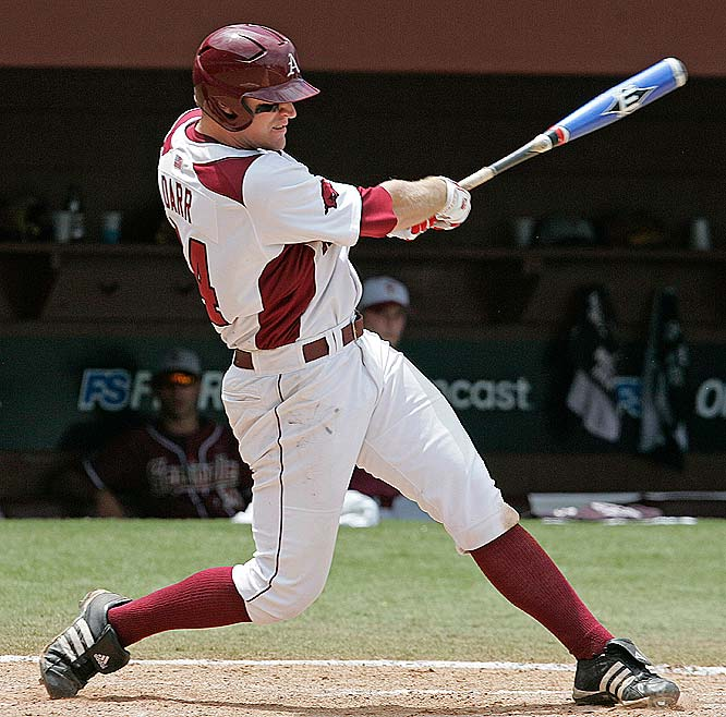 Down 8-7 in the bottom of the ninth against Florida State in the Super Regionals, Andrew Darr (pictured) drove in two runs and the Razorbacks punched the first ticket to the CWS.<br><br>First game:  Saturday, 1 p.m. vs. CS Fullerton
