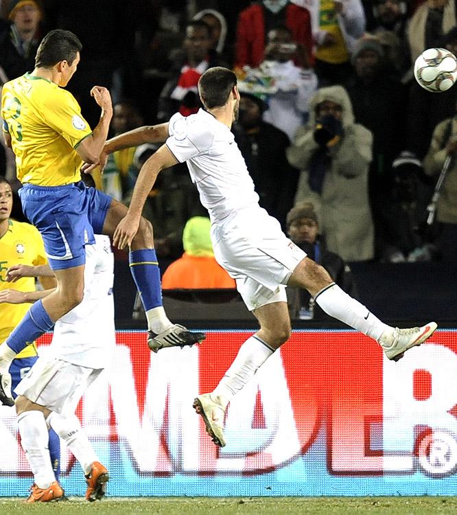 Lucio's goal put a cap on Brazil's second-half scoring spree.