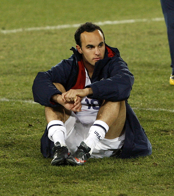 The United States' Landon Donovan looks on after the hard-fought match. His goal midway through the first period had given the Americans a 2-0 lead.