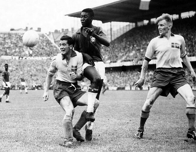 Brazil defeats Sweden 5-2 in the World Cup. Pele;, at age 17, scores a goal in the game.