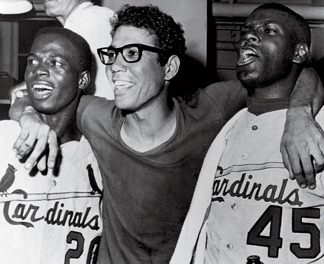 St. Louis Cardinals (from left) Lou Brock, Julian Javier and Bob Gibson celebrate after defeating the Red Sox in World Series Game 7.