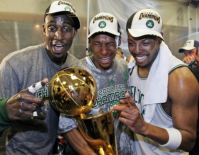 Kevin Garnett, Ray Allen and Paul Pierce celebrate after their 131-92 drubbing of the Lakers, which earned all three their first NBA championship.