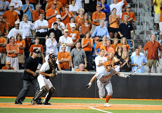 Travis Tucker hit a 3-2 pitch for a grounder through the right side of the infield in the 25th inning on Saturday, scoring the winning run from third in Texas's  3-2 victory over Boston College.