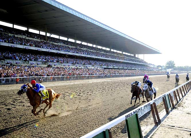 (Left to right) Summer Bird leads Mine that Bird and Dunkirk down the stretch at the 141st running of the Belmont Stakes. Summer Bird, ridden by Kent Desormeaux, won the final leg of the Triple Crown by 2 3/4 lengths. Dunkirk finished second and Kentucky Derby winner Mine that Bird came in third.
