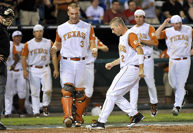 Texas' Travis Tucker (2) scored the winning run against Southern Mississippi in a first-round College World Series game Sunday. Southern Mississippi pitcher Jonathan Johnston gave up a bases-loaded walk in the ninth to send Tucker home, giving Texas a 7-6 victory.