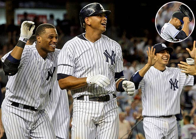 New York Yankees Alex Rodriguez, Robinson Cano and Ramiro Peña laugh in disbelief after Mets second baseman Luis Castillo dropped Rodriguez's two-out pop up in the ninth.  Derek Jeter scored from second and Mark Teixeira from first, giving the Yankees an unexpected 9-8 victory over the Mets Friday night.  Mets closer Francisco Rodriguez took the loss and his first blown save of the season.