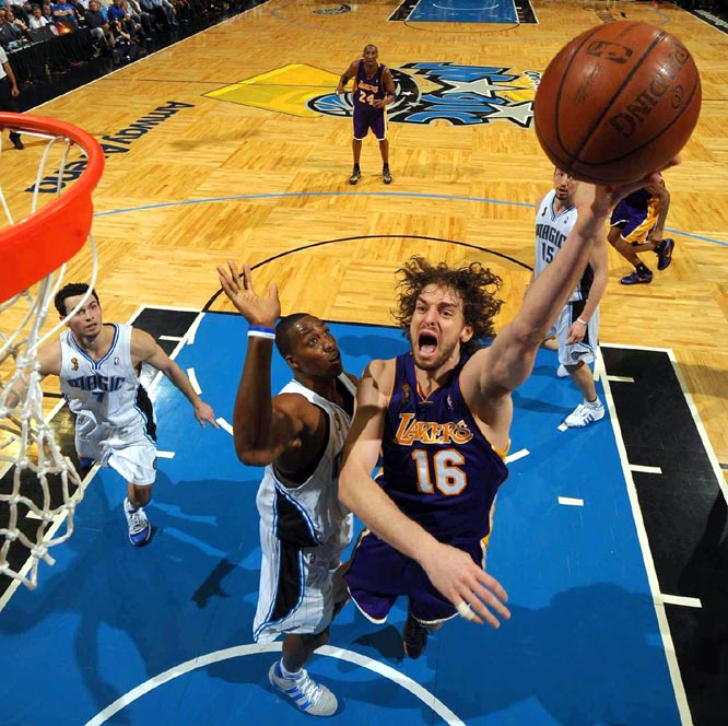 Gasol flourished in his second season in L.A., making it to his second All-Star Game and earning third-team All-NBA honors. He was even better in the playoffs, where he averaged 18.3 points and 10.8 rebounds. He scored 14 points and grabbed 15 boards in the clincher.