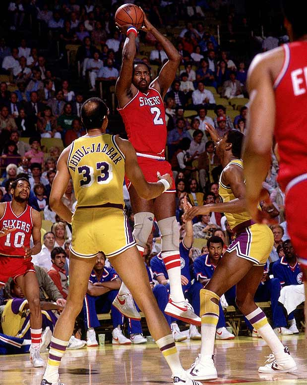 With first-year Sixer Moses Malone joining Julius Erving, Philadelphia went 65-17 in the regular season and won 12 of 13 playoff games, including all four in the Finals against the injury-plagued Lakers.