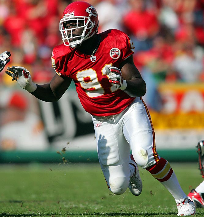 Hali made an immediate impact in Kansas City, recording a team high 8.0 sacks (4th among rookies) as well as 65 tackles, 1 interception and six forced fumbles. Although his numbers have decreased slightly since (59 tackles and 7.5 sacks in 07, 33 tackles and 3.0 sacks in 08), Hali has missed only one game due to injury in his three seasons.