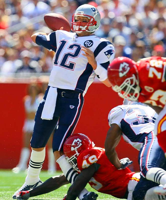 The 2008 Patriots were coming off the franchise's 16-0 regular season in 2007 and hungry to avenge their Super Bowl loss to the Giants. Then the roof caved in when the Chiefs' Bernard Pollard tried to tackle Tom Brady by the leg midway through the first quarter of their Week 1 game. Brady suffered a serious knee injury and was out for the season. The Pats turned to backup Matt Cassel, finished 11-5 and didn't reach the playoffs.