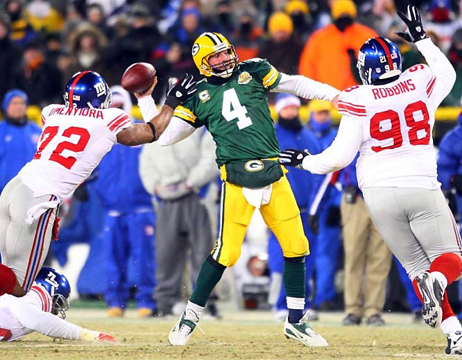 Against the Giants in the 2007 NFC Championship Game, Brett Favre struggled in subzero temperatures, throwing an interception in overtime that set up a game-winning field goal for New York. Favre had a great regular season but appeared to run out of gas toward the end. An exhausted Favre announced his retirement on March 4, 2008. Then in July, he got the bug to play again. But the Packers decided they wanted to move on and traded Favre to the Jets in August.