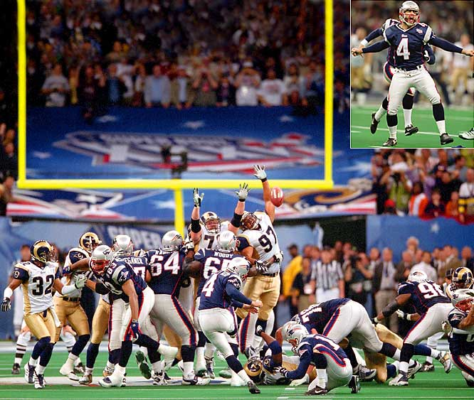 Vinatieri earned the nickname Automatic Adam after two of his field goals clinched the Patriots first and second Super Bowl championships. In Super Bowl XXXVI, he kicked a 48-yard field goal on the final play to give the Patriots a 20-17 win over the Rams. Two years later, Vinatieri kicked a 41-yard field goal with four seconds left in Super Bowl XXXVIII to beat the Panthers, 32-29.