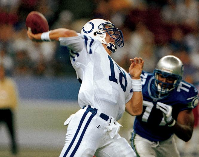 In his rookie season, Manning passed for 3,739 yards with 26 touchdowns and set five NFL rookie records (including, dubiously, most INTs with 28). The Colts only went 3-13 but quickly turned things around in 1999, going 13-3 with Manning making the Pro Bowl.