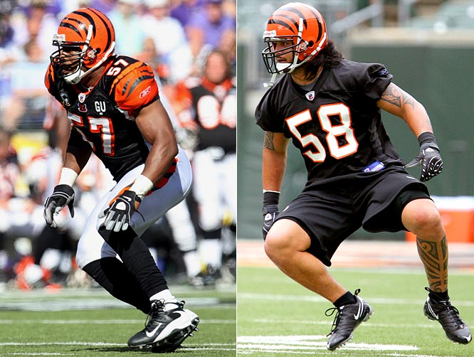 In 2008, Jones settled what had been a decade-long problem area for the Bengals. How'd they reward him? By drafting his eventual replacement. Jones is OK, but Maualuga will man the SAM position if Jones can duplicate his 2008 numbers.