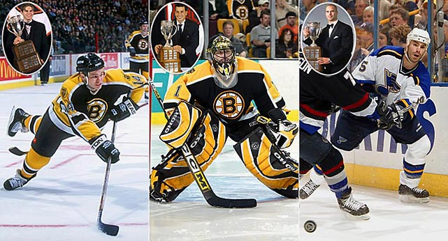 Sometimes, winning the Calder is not an indication of future success. Sergei Samsonov (1998) and Andrew Raycroft (2004), both of whom won the trophy while playing for the Boston Bruins, never fully delivered on their promise and became journeymen. Barret Jackman, a presumably defensive blueliner for St. Louis, was later slowed by injuries, and posted successive -17 and -12 campaigns from 2007 to 2009. He was chosen in 2003 over Detroit's superb two-way forward Henrik Zetterberg.