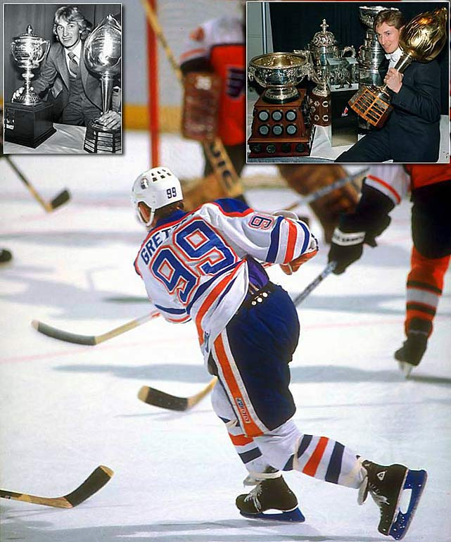 The Great One owned the Hart (eight straight from 1980-87; nine in all) and Ross (seven straight from 1981-87; 10 in all) and also bagged the Lady Byng Trophy (gentlemanly play) five times. Due to his playing a season in the rival World Hockey Association prior to the Edmonton Oilers joining the NHL in 1979, Gretzky did not qualify as a rookie and therefore never won the Calder. Defenseman Raymond Bourque of the Bruins was the winner for the 1979-80 season.