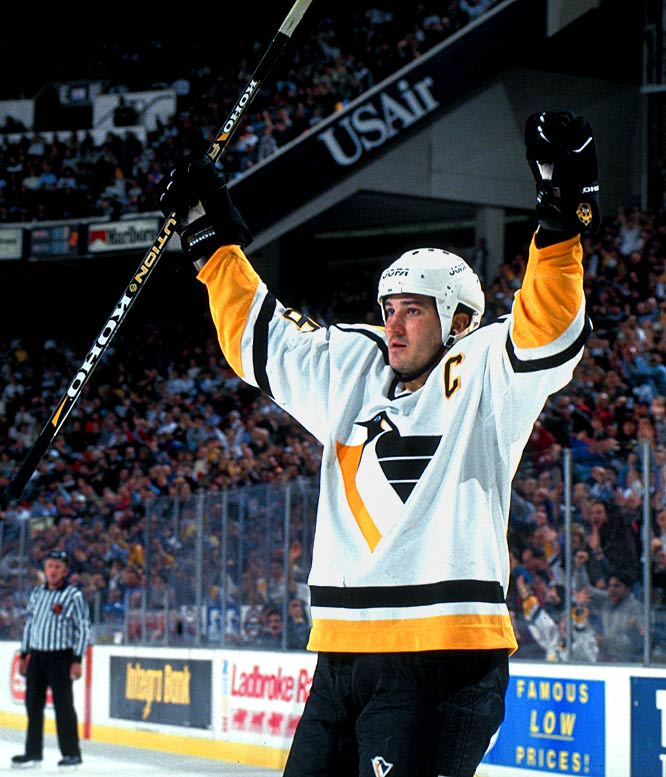 After a one-year hiatus to recover from a bad back and Hodgkin's treatment, Mario Lemieux returned with a bang, scoring 69 goals in 70 games on the way to his 500th career tally, the scoring title (161 points) and the Hart Trophy. Jaromir Jagr finished second in the scoring race as the Penguins posted a 49-29-4 mark. In the playoffs, they knocked off the Capitals and Rangers before falling to the upstart Florida Panthers in seven games.