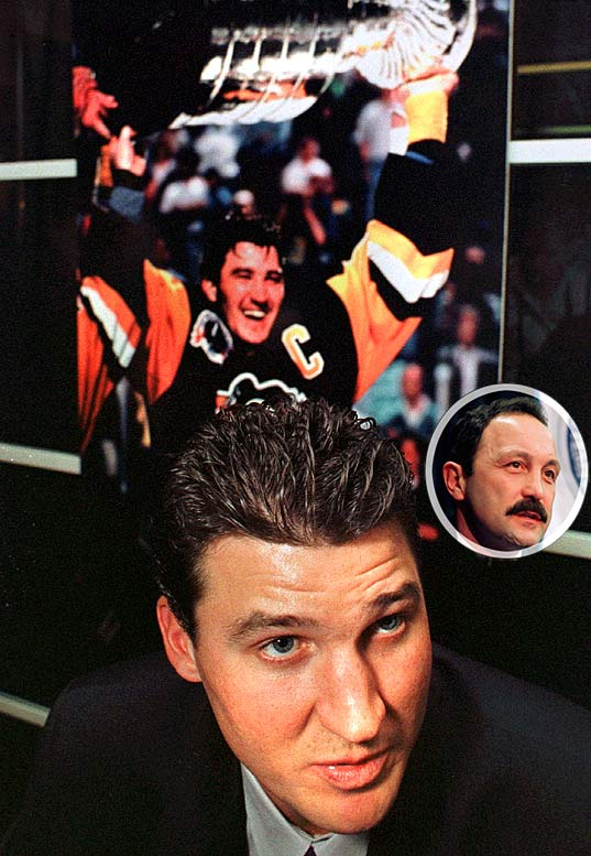 Mario Lemieux is inducted into the Hockey Hall of Fame along with Bryan Trottier (inset), the former Islanders great who concluded his career with the Penguins (1990-94).