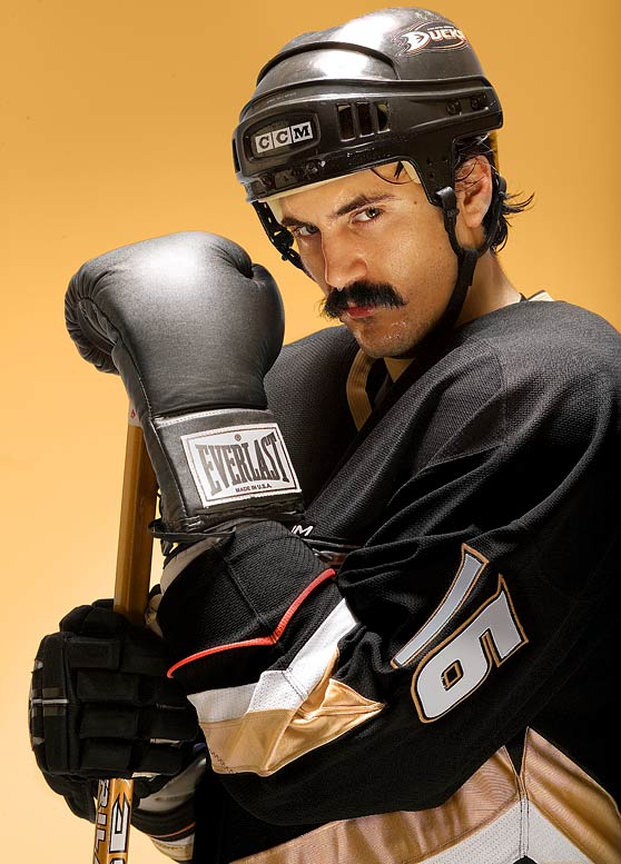 No, he isn't a punch line. How many enforcers have a 3.16 GPA and an economics degree from Princeton? Parros was actually the Ducks' 2009 Masterton nominee -- sportsmanship is part of the criteria -- after leading them with 23 fighting majors but no misconducts or instigator penalties. The shaggy winger also sponsors his annual Cut For Kids to benefit the Childhood Leukemia Foundation -- donating his shorn locks to help provide hairpieces to sick kids who've lost their hair.