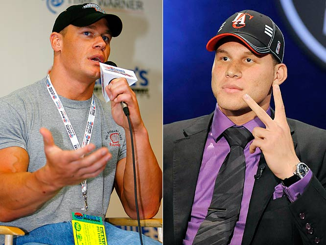 Congratulations to John Cena, er Blake Griffin for being the No. 1 pick in the NBA Draft. We've never seen Griffin and the WWE wrestler in the same room but we're hoping someone can hook these two look-alikes up. Not for our amusement (although that would be nice), but so Cena can give Griffin some pointers on how to not make viewers fall asleep when he's being interviewed.